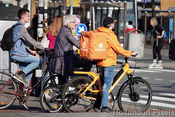 Nederland Groningen 2019. Bezorger van Thuisbezorgd.  Foto Berlinda van Dam / Hollandse Hoogte