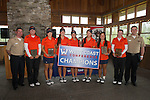 April 16, 2014; Bremerton, WA, USA; West Coast Conference Women's Golf Team Champions Pepperdine Waves (not in order)  golfer Alina Ching,  golfer Somin Lee, golfer Marissa Chow, golfer Liv Cheng, golfer Grace Na, coach Laurie Gibbs during the WCC Golf Championships at Gold Mountain Golf Club.
