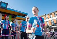 Picture by Allan McKenzie SWpix.com - 03/05/2018 - Cycling - 2018 Asda Women's Tour de Yorkshire - Stage 1: Beverley to Doncaster - Jaden Weldtite's Georgia Bullard with the Mugshot Youngest British Women's Rider trophy.