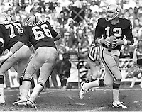 """Ken """"The Snake""""Stabler drops back to pass..(1979 photo/Ron Riesterer)"""