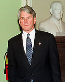 White House Special Counsel Greg Craig waits to speak to reporters in the  United States Capitol in Washington, D.C. on January 14, 1999..Credit: Ron Sachs / CNP