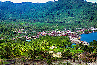 Maluku, North Maluku, Halmahera. Village on the west side of Halmahera (from helicopter)