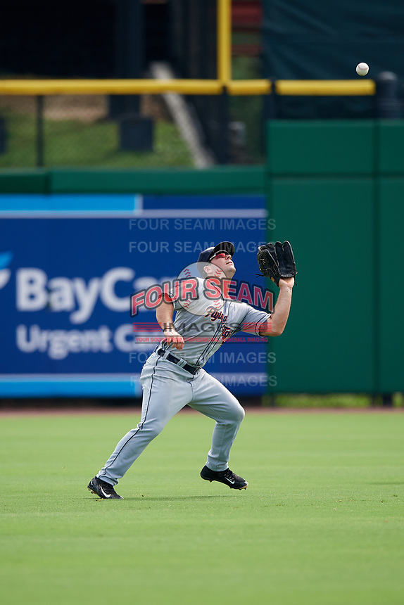 Lakeland Flying Tigers left fielder Dustin Frailey (7) settles under a fly ball during the first game of a doubleheader against the Clearwater Threshers on June 14, 2017 at Spectrum Field in Clearwater, Florida.  Lakeland defeated Clearwater 5-1.  (Mike Janes/Four Seam Images)