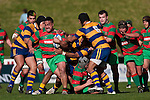 Rawiri Garmonsway bursts through the Patumahoe defenders. Counties Manukau Premier Club Rugby final between Patumahoe & Waiuku played at Bayers Growers Stadium Pukekohe on Saturday August 8th 2009. Patumahoe won 11 - 9 after leading 11 - 6 at halftime.