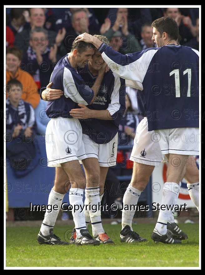 5/4/03          Copright Pic : James Stewart                  .File Name : stewart-falkirk v ross cty 26.OWEN COYLE IS CONGRATULATED BY LEE MILLER AND STUART TAYLOR AFTER SCORING FALKIRK'S THIRD....James Stewart Photo Agency, 19 Carronlea Drive, Falkirk. FK2 8DN      Vat Reg No. 607 6932 25.Office : +44 (0)1324 570906     .Mobile : + 44 (0)7721 416997.Fax     :  +44 (0)1324 570906.E-mail : jim@jspa.co.uk.If you require further information then contact Jim Stewart on any of the numbers above.........