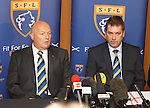 Jim Ballantyne, President, and David Longmuir chief executive of the Scottish Football League announce that Rangers have been accepted as an associate member of the SFL and have been invited into Division 3 for the start of the season 2012-13