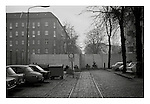 Tram tracks lead up to the Berlin wall in East Berlin, 18 November 1989, nine days after the collapse of the DDR. Photograph copyright Graham Harrison.