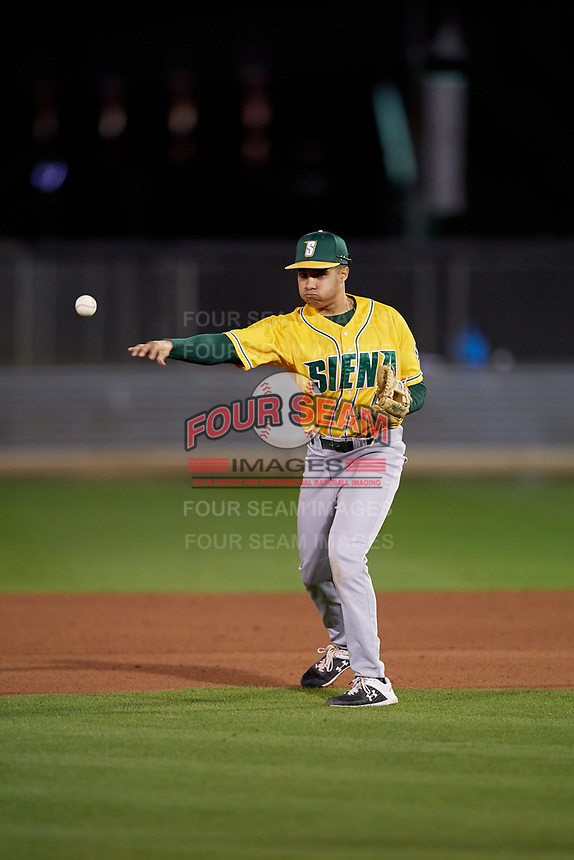Siena Saints second baseman Donovan Montgomery (6) during a game against the UCF Knights on February 14, 2020 at John Euliano Park in Orlando, Florida.  UCF defeated Siena 2-1.  (Mike Janes/Four Seam Images)