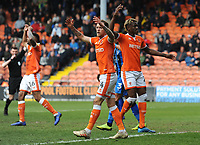 Blackpool's Harry Pritchard protests after his goal is disallowed<br /> <br /> Photographer Kevin Barnes/CameraSport<br /> <br /> The EFL Sky Bet League One - Blackpool v Gillingham - Saturday 4th May 2019 - Bloomfield Road - Blackpool<br /> <br /> World Copyright © 2019 CameraSport. All rights reserved. 43 Linden Ave. Countesthorpe. Leicester. England. LE8 5PG - Tel: +44 (0) 116 277 4147 - admin@camerasport.com - www.camerasport.com
