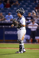 Tampa Yankees catcher Santiago Nessy (19) during a game against the Lakeland Flying Tigers on April 8, 2016 at George M. Steinbrenner Field in Tampa, Florida.  Tampa defeated Lakeland 7-1.  (Mike Janes/Four Seam Images)