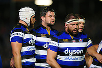 Elliott Stooke of Bath Rugby rallies his fellow forwards at a scrum. Aviva Premiership match, between Bath Rugby and Sale Sharks on October 7, 2016 at the Recreation Ground in Bath, England. Photo by: Patrick Khachfe / Onside Images