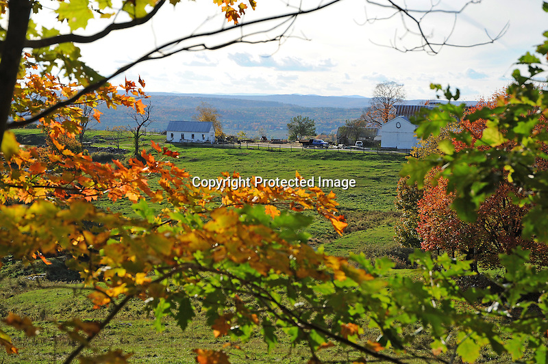 Hilltop Farm in Afternoon Sunlight during Fall Season in Walpole, New Hampshire USA