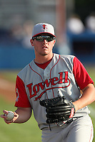 Lowell Spinners left fielder Seth Schwindenhammer during a game vs. the Batavia Muckdogs at Dwyer Stadium in Batavia, New York July 14, 2010.   Batavia defeated Lowell 12-2.  Photo By Mike Janes/Four Seam Images