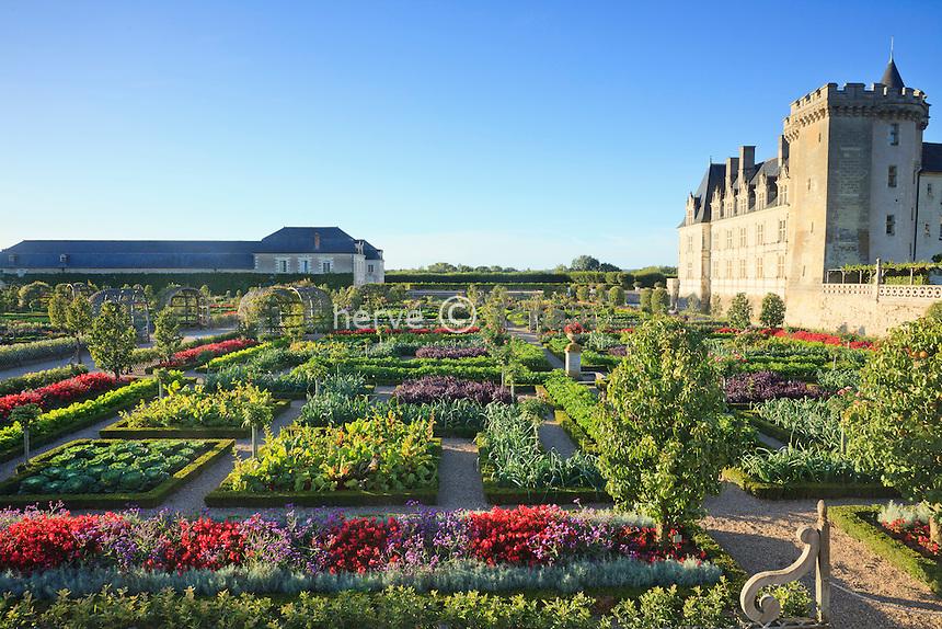 """France, Jardins du château de Villandry, le potager traité en jardin à la française et le château // France, Gardens of Villandry castle, the kitchen garden treated like a """"jardin à la française"""" and the castle."""
