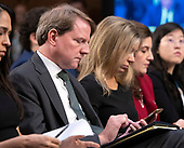"White House Counsel Don McGahn appears to be taking notes as he listens to the debate about the release of documents designated ""committee confidential"" prior to the US Senate Judiciary Committee beginning the third day of testimony from Judge Brett Kavanaugh on his nomination as Associate Justice of the US Supreme Court to replace the retiring Justice Anthony Kennedy on Capitol Hill in Washington, DC on Thursday, September 6, 2018.<br /> Credit: Ron Sachs / CNP<br /> (RESTRICTION: NO New York or New Jersey Newspapers or newspapers within a 75 mile radius of New York City)"
