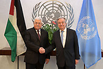 Palestinian President Mahmoud Abbas, meets with Secretary General of the United Nations in New York, United States on February 11, 2020. Photo by Thaer Ganaim