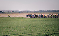 Peloton about to enter the infamous windy 'Moeren'; better to race up front for if the peloton breaks into echelons...<br /> <br /> Driedaagse Brugge-De Panne 2018<br /> Bruges - De Panne (202km)