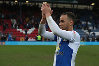 Blackburn Rovers' Elliott Bennett  celebrates their win at the end of the match<br /> <br /> <br /> Photographer Rachel Holborn/CameraSport<br /> <br /> The EFL Sky Bet League One - Blackburn Rovers v Blackpool - Saturday 10th March 2018 - Ewood Park - Blackburn<br /> <br /> World Copyright &copy; 2018 CameraSport. All rights reserved. 43 Linden Ave. Countesthorpe. Leicester. England. LE8 5PG - Tel: +44 (0) 116 277 4147 - admin@camerasport.com - www.camerasport.com