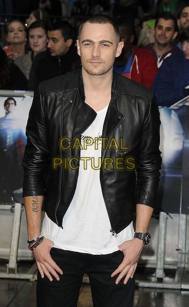 Charlie Brown<br /> 'Man Of Steel' UK film premiere, Empire cinema, Leicester Square, London, England.<br /> 12th June 2013<br /> half  length top black white jacket leather  <br /> CAP/CAN<br /> &copy;Can Nguyen/Capital Pictures