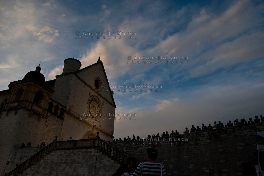 Assisi,Italy, September 20, 2016. Una veduta della Basilica di San Francesco. The Basilica of St. Francis, Assisi. War refugees and leaders and representatives of several religions, including Christians, Jews, Muslims, Hindus and others, joined Pope Francis in a day of prayer for peace in Assisi, the hometown of St. Francis, who preached tolerance and gentleness. (Antonello Nusca/Polaris)