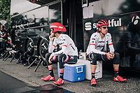Haimar Zubeldia (ESP/Trek-Segafredo) &amp; Koen de Kort (NED/Trek-Segafredo) waiting for the course to be opened to the riders for recon<br /> <br /> <br /> 104th Tour de France 2017<br /> Stage 1 (ITT) - D&uuml;sseldorf &rsaquo; D&uuml;sseldorf (14km)