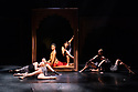 """Eastleigh, UK. 21.09.2017. The company rehearses Shobana Jeyasingh Dance's """"Bayadere: The Ninth Life"""", at The Point, Eastleigh, prior to commencing a tour which includes The Lowry, Salford, and Sadler's Wells, London. The dancers are: Avatara Ayuso, Carmine De Amicis, Fabio Dolce, Sunbee Han, Bryony Harrison, Andre Kamienski, Noora Kela, Ingvild Krogstad, Sooraj Subramaniam, Jack Thomson, Adi Chugh (actor). The work is choreographed and directed by Shobana Jeyasingh, with set and costume design by Tom Piper, and lighting design by Fabiana Piccioli. Photograph © Jane Hobson."""