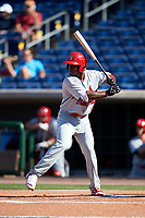 Palm Beach Cardinals designated hitter Darren Seferina (12) at bat during the first game of a doubleheader against the Clearwater Threshers on April 13, 2017 at Spectrum Field in Clearwater, Florida.  Clearwater defeated Palm Beach 1-0.  (Mike Janes/Four Seam Images)