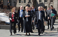 PQ leader Pauline Marois and all the PQ?s MNA arrive to a press conference in front of the Quebec Legislature building in Quebec City April 24, 2008. Marois announced that she would like the province to have control over Radio-television and Telecommunications issues, a currently under control of the federal with the CRTC.