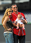 19 June 2011: Washington Nationals' center fielder Rick Ankiel poses with his wife Lory and new arrival after a Father's Day game against the Baltimore Orioles at Nationals Park in Washington, District of Columbia. The Orioles defeated the Nationals 7-4 in inter-league play, and ended Washington's 8-game winning streak. Mandatory Credit: Ed Wolfstein Photo