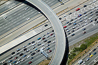 aerial photograph of traffic jam approaching San Francisco Oakland Bay Bridge toll plaza