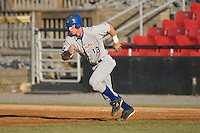 Mike McCormick (13) of the Columbus Catfish takes off for second base at L.P. Frans Stadium in Hickory, NC, Wednesday, May 21, 2008.