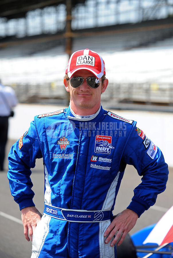 May 28, 2010; Indianapolis, IN, USA; Indy Light Series driver Dan Clarke during the Freedom 100 at the Indianapolis Motor Speedway. Mandatory Credit: Mark J. Rebilas-