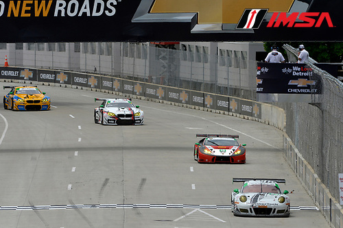 3-4 June, 2016, Detroit, Michigan USA<br /> 23, Porsche, GT3 R, GTD, Mario Farnbacher, Alex Riberas, 48, Lamborghini, Huracan GT3, GTD, Bryan Sellers, Madison Snow<br /> &copy;2016, Scott R LePage <br /> LAT Photo USA