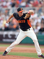 Steve Edlefsen #65 of the San Francisco Giants pitches against the Arizona Diamondbacks in the first spring training game of the season at Scottsdale Stadium on February 25, 2011  in Scottsdale, Arizona. .Photo by:  Bill Mitchell/Four Seam Images.