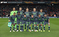Sporting CP line up for a team photo prior to the game<br /> <br /> Photographer Rob Newell/CameraSport<br /> <br /> UEFA Europa League Group E - Arsenal v Sporting CP - Thursday 8th November 2018 - Arsenal Stadium - London<br />  <br /> World Copyright © 2018 CameraSport. All rights reserved. 43 Linden Ave. Countesthorpe. Leicester. England. LE8 5PG - Tel: +44 (0) 116 277 4147 - admin@camerasport.com - www.camerasport.com