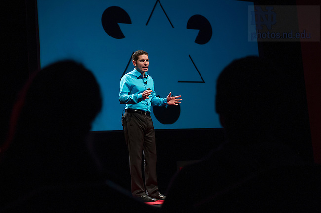 """Jan. 21, 2014; Jose E. Lugo delivers his talk titled, """" Quantifying Design Aesthetics: A Multidisciplinary Story,"""" during the TEDxUND 2014 event in the Debartolo Performing Arts Center. Photo by Barbara Johnston/University Photographer"""