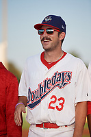 Auburn Doubledays pitcher Carson Teel (23) during introductions before a game against the Hudson Valley Renegades on September 5, 2018 at Falcon Park in Auburn, New York.  Hudson Valley defeated Auburn 11-5.  (Mike Janes/Four Seam Images)