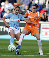 Sky Blue FC midfielder Heather O'Reilly (9) attempts to knock the ball away from Chicago Red Star midfielder Brittany Klein (6).  The Sky Blue FC defeated the Chicago Red Stars 2-0 at Toyota Park in Bridgeview, IL on May 10, 2009.