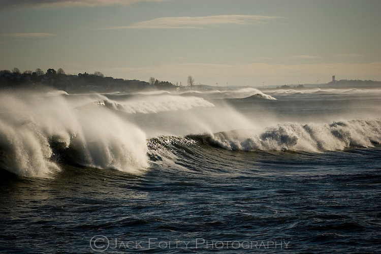 Strong, cresting surf pounds Kings Beach after an ocean storm.