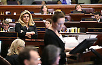 Nevada Assemblywoman Michele Fiore, R-Las Vegas, watches the final chaotic minutes of the session tick down at the Legislative Building in Carson City, Nev., on Monday, June 1, 2015. <br /> Photo by Cathleen Allison