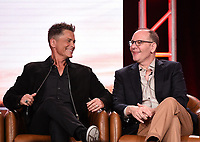 2020 FOX WINTER TCA: (L-R): 9-1-1: LONE STAR cast member/Co-Executive Producer Rob Lowe and Co-Creator/Co-Executive Producer/Showrunner Tim Minear during the 9-1-1: LONE STAR panel at the 2020 FOX WINTER TCA at the Langham Hotel, Tuesday, Jan. 7 in Pasadena, CA. © 2020 Fox Media LLC. CR: Frank Micelotta/FOX/PictureGroup