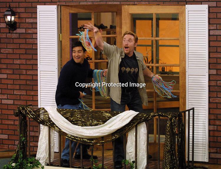 ©2002 KATHY HUTCHINS / HUTCHINS PHOTO .OTHER HALF SHOW 9/11/02.BURBANK, CA. 9/11/02.MARIO LOPEZ AND DANNY BONADUCE
