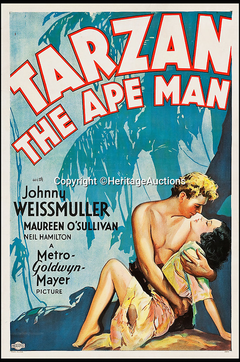 BNPS.co.uk (01202 558833)<br /> Pic: HeritageAuctions/BNPS<br /> <br /> Tarzan the Ape Man (MGM, 1932) estimate $80,000.<br /> <br /> A lucky family is set to make a staggering &pound;160,000 after a hoard of old film posters they stumbled upon under the floor of their new home turned out to be 'lost' Hollywood relics.<br /> <br /> The prized stash of 17 perfectly preserved posters was discovered by Bob and Dylan Basta as they tore up the lino in the house their dad Robert was renovating. <br /> <br /> After calling in experts from leading auctioneers Heritage they found that among their treasure trove were five never-seen-before posters from the Golden Age of Hollywood.<br /> <br /> The collection is now tipped to fetch a whopping $240,000 - around &pound;160,000 - at Heritage Auctions in Dallas, Texas.