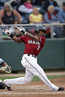 July 7 2009: Roberto Rodriguez of the Yakima Bears bats against the Everett AquaSox at Everett Memorial Stadium in Everett,WA.  Photo by Larry Goren/Four Seam Images