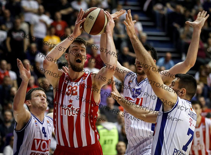 Kosarka ABA League season 2016-2017-Play Off-First match<br /> Crvena Zvezda v Buducnost <br /> Ognjen Kuzmic (C) Bojan Subotic (R) and Suad Sehovic (L)<br /> Beograd, 20.03.2017<br /> foto: Srdjan Stevanovic/Starsportphoto &copy;