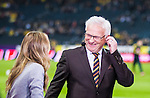 Solna 2014-10-09 Fotboll EM-kval , Sverige - Ryssland :  <br /> Kanal 5 expert Hans Hasse Backe ser glad ut i TV-studion bredvid Karin Frick<br /> (Photo: Kenta J&ouml;nsson) Keywords:  Sweden Sverige Friends Arena EM Kval EM-kval UEFA Euro European 2016 Qualifier Qualifiers Qualifying Group Grupp G Ryssland Russia portr&auml;tt portrait glad gl&auml;dje lycka leende ler le