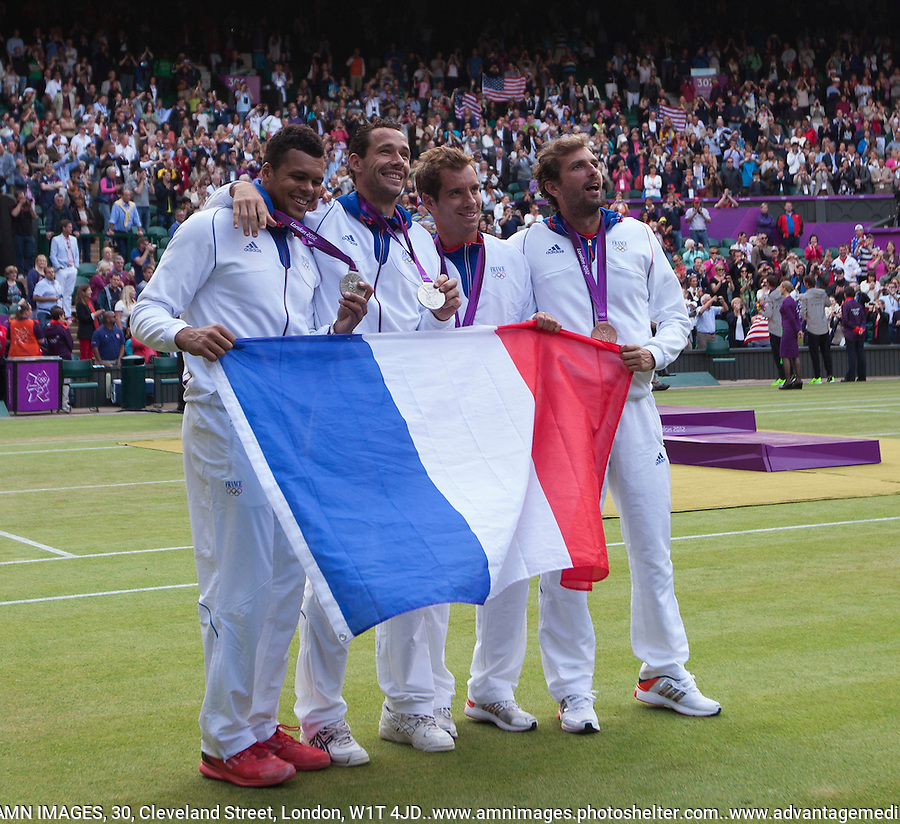 Medal Presentation - Mike Bryan, Bob Bryan,  Michael Llodra, Jo-Wilfreid Tsonga, Richard Gasquet, Julian Benneteau..Tennis - OLympic Games -Olympic Tennis -  London 2012 -  Wimbledon - AELTC - The All England Club - London - Sunday 5th August  2012. .© AMN Images, 30, Cleveland Street, London, W1T 4JD.Tel - +44 20 7907 6387.mfrey@advantagemedianet.com.www.amnimages.photoshelter.com.www.advantagemedianet.com.www.tennishead.net