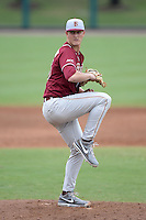 Florida State Seminoles pitcher Bryant Holtmann (33) during a game against the South Florida Bulls on March 5, 2014 at Red McEwen Field in Tampa, Florida.  Florida State defeated South Florida 4-1.  (Mike Janes/Four Seam Images)
