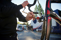 2013 Giro d'Italia.stage 10..Lotto-Belisol mechanic Geert Rombauts cleaning the teambikes post race