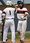 Torrington  CT. - 13 August 2019-081319SV10-<br /> #51 Tony Patane of the Terryville Black Sox is met at home by #1 Mike Kreiger after hitting a 3 run homer against the Litchfield Cowboys in the 2nd inning of the Tri-State League semifinals in Torrington Tuesday. <br /> Steven Valenti Republican-American